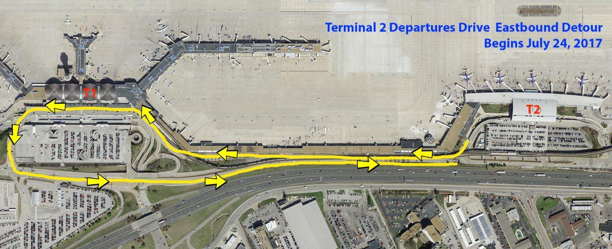 Airport to Detour T2 Drivers around Roadwork Starting July